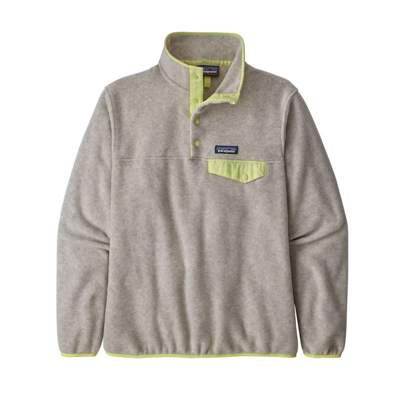 Patagonia Women's Lightweight Synchilla Snap-T Fleece Pullover Oatmeal Heather with Jellyfish Yellow