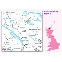 OS Landranger 16 Paper - Lairg & Loch Shin 1:50,000 coverage