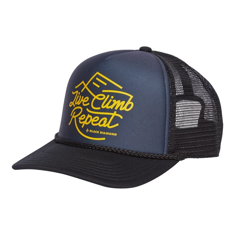 Black Diamond Flat Bill Trucker Hat Carbon/Sulphur