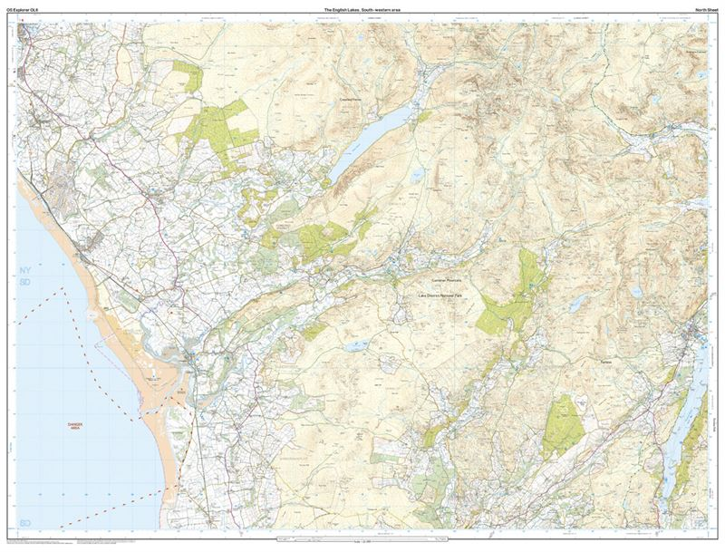 OS OL6 The English Lakes South-Western Area Active north sheet