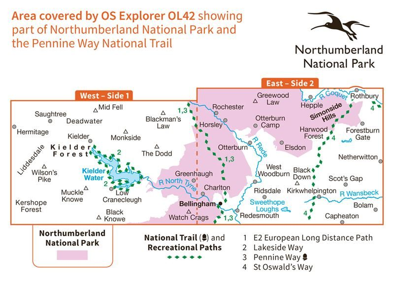 OS OL42 Kielder Water coverage
