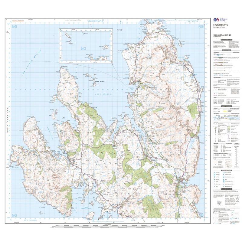 OS Landranger 23 Paper - North Skye sheet