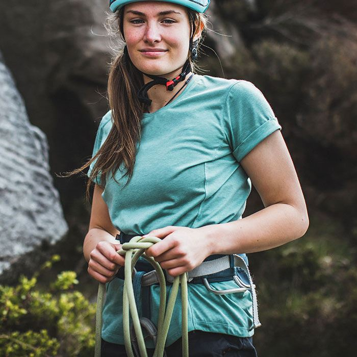 Montane Women's Mono T-Shirt Matcha Green in use