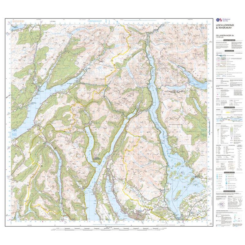 OS Landranger 56 Paper - Loch Lomond & Inveraray sheet