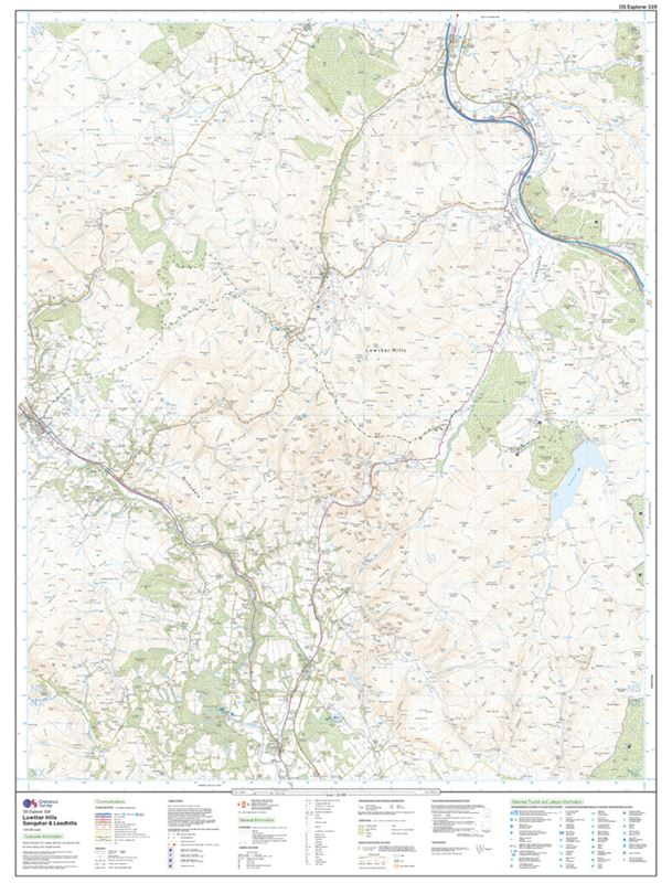 OS Explorer 329 Paper - Lowther Hills, Sanquhar & Leadhills sheet
