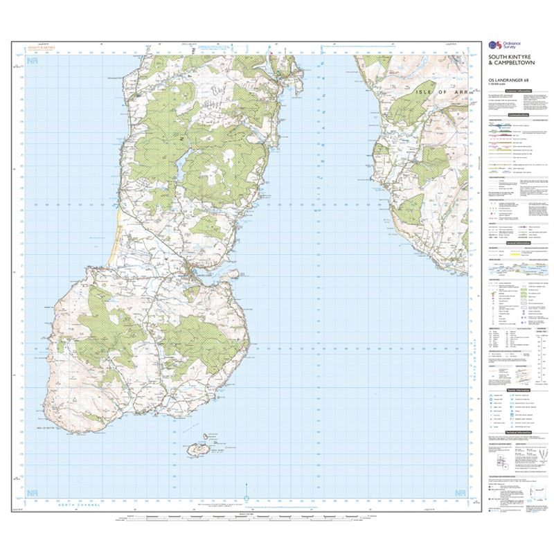 OS Landranger 68 Paper - South Kintyre & Campbeltown sheet