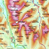 Topographical Map of the Lake District Wainwright Fells detail