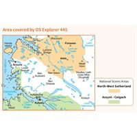 OS Explorer 445 Paper Foinaven, Arkle, Kylesku & Scourie 1:25,000 coverage