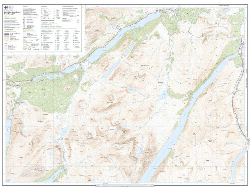 OS OL/Explorer 50 Paper - Ben Alder, Loch Ericht & Loch Laggan sheet