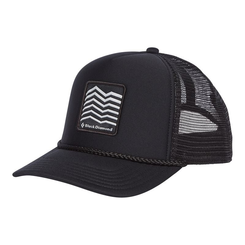 Black Diamond Flat Bill Trucker Hat Ridges Print