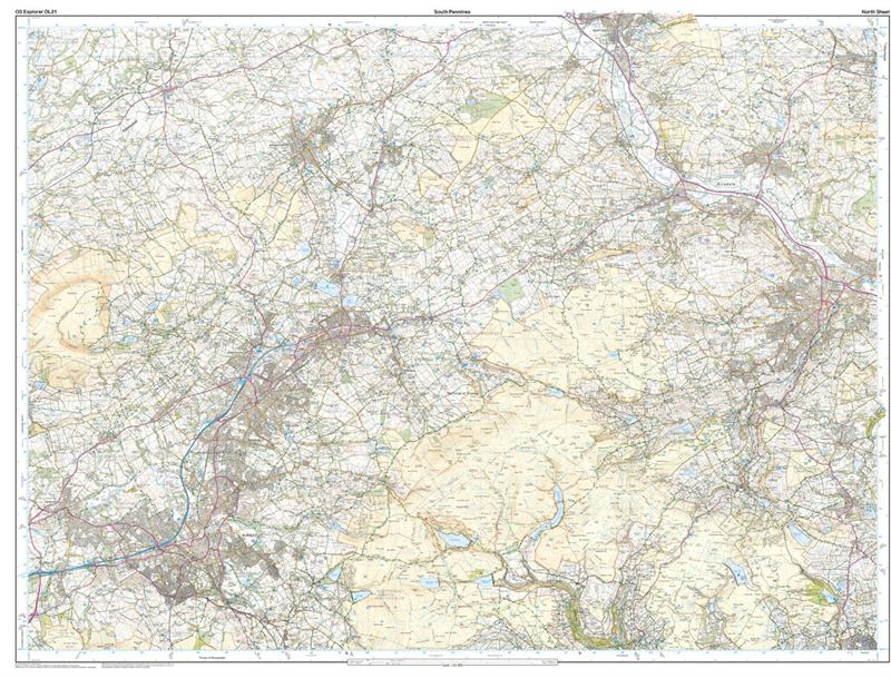 OS OL21 South Pennines north sheet