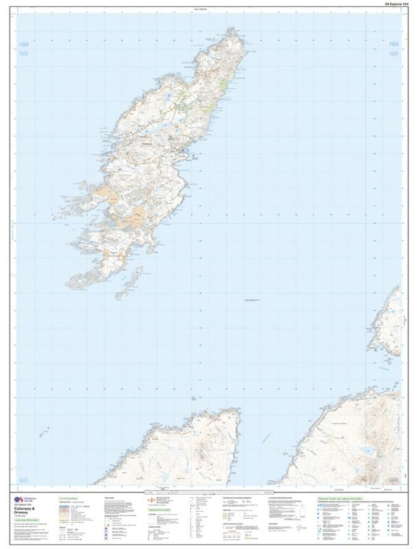 OS Explorer 354 Paper - Colonsay & Oransay sheet