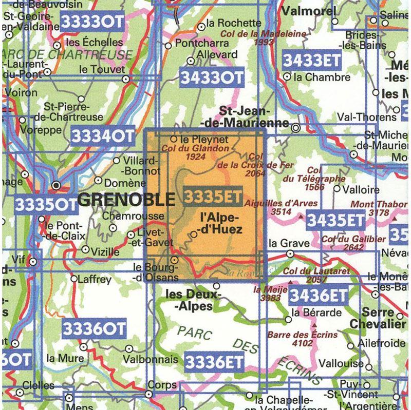 IGN 3335 ET - Le Bourg-d'Oisans, L'Alpe d'Huez coverage