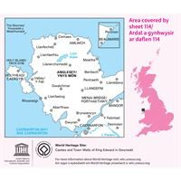 OS Landranger 114 Paper - Anglesey coverage