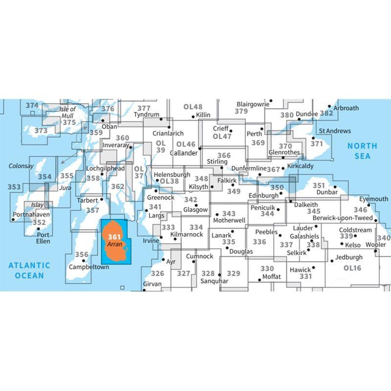 OS Explorer 361 Paper - Isle of Arran adjacent