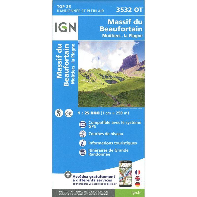 IGN 3532 OT - Massif du Beaufortain, Moûtiers, La Plagne