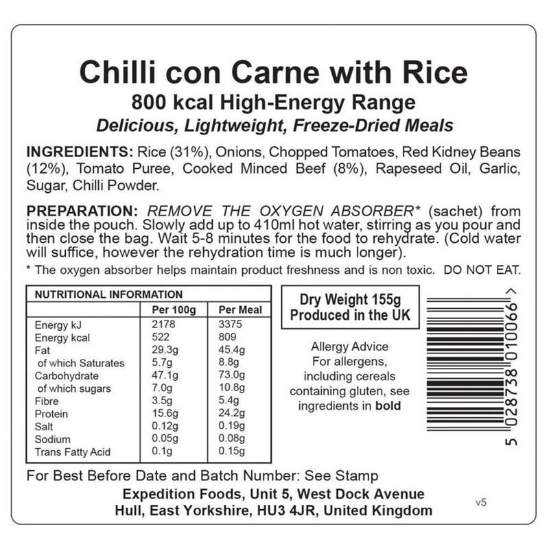Chilli con Carne with Rice (Dairy Free, Gluten Free, 800kcal)