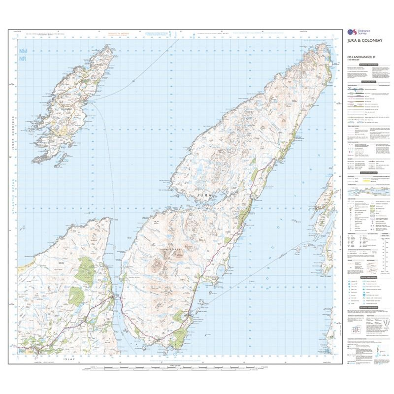 OS Landranger 61 Paper - Jura & Colonsay sheet