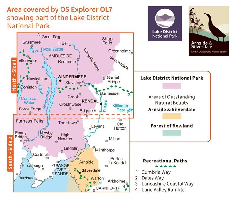 OS OL7 The English Lakes South-Eastern Area Active coverage