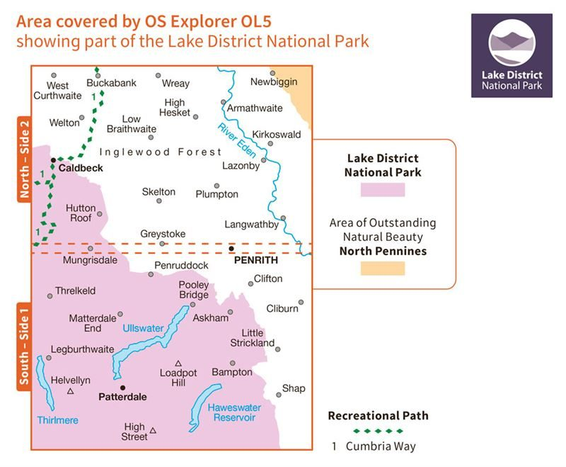 OS OL5 The English Lakes North-Eastern Area coverage