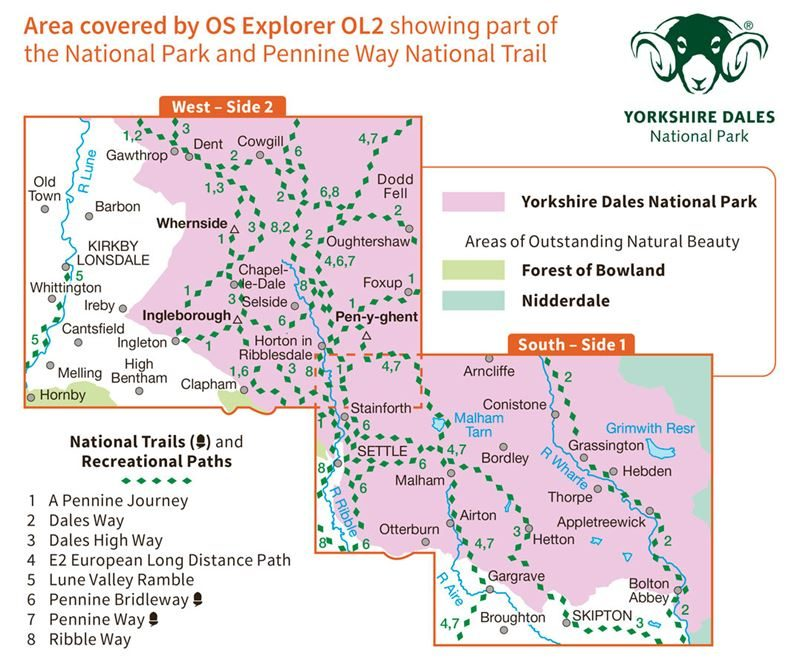 OS OL/Explorer 2 Yorkshire Dales - Southern and Western Areas coverage