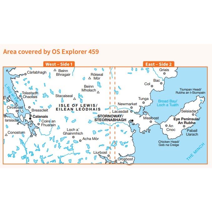 OS Explorer 459 Paper - Central Lewis & Stornoway coverage