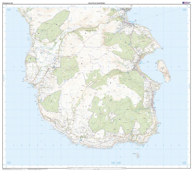 OS Explorer 361 Paper - Isle of Arran south sheet