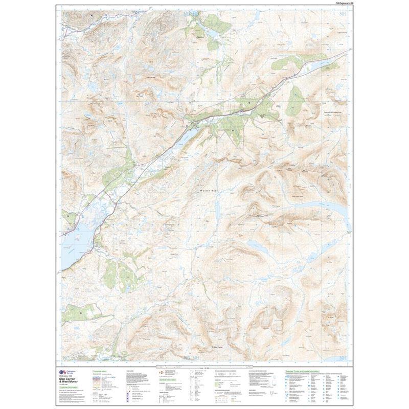 OS Explorer 429 Paper Glen Carron & West Monar 1:25,000 sheet