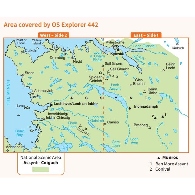 OS Explorer 442 Paper Assynt & Lochinver 1:25,000 coverage