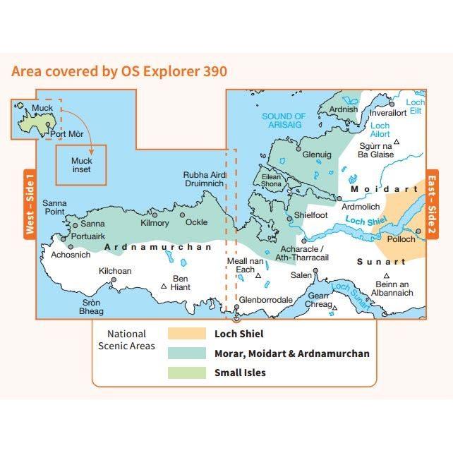 OS Explorer 390  Paper - Ardnamurchan 1:25,000 coverage