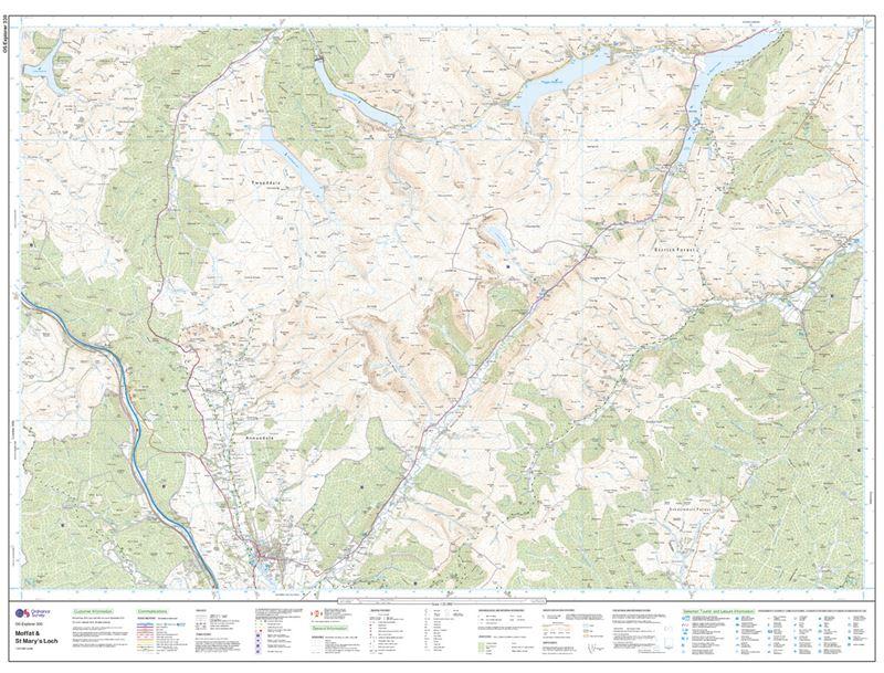 OS Explorer 330 Paper - Moffat & St Mary's Loch sheet