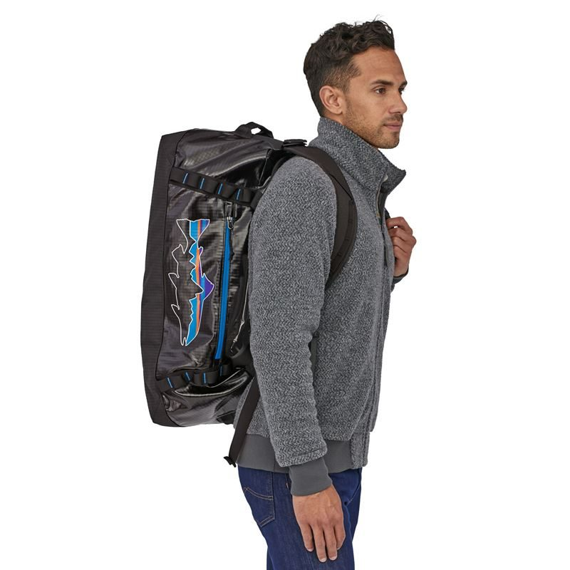 Patagonia Black Hole Duffel Bag 55L Black with Fitz Trout