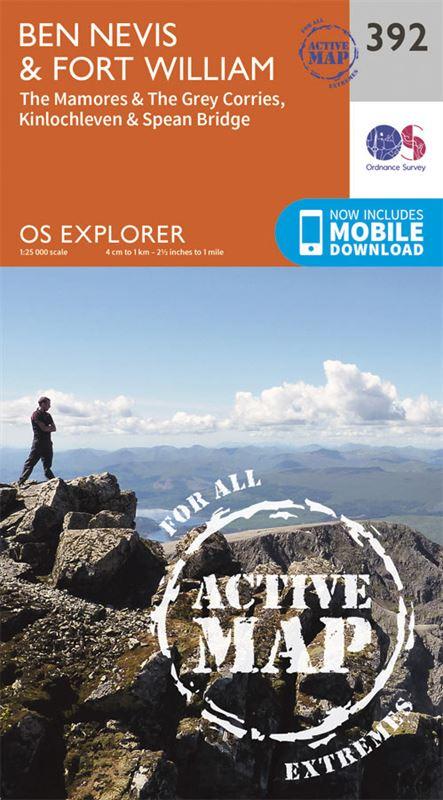 OS Explorer 392 Active Map Ben Nevis & Fort William 1:25,000 coverage