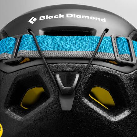 Black Diamond Vision MIPS Helmet with headtorch fitted