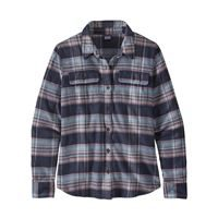 Patagonia Women's Long-Sleeved Fjord Flannel Shirt Cabin Time: Smolder Blue