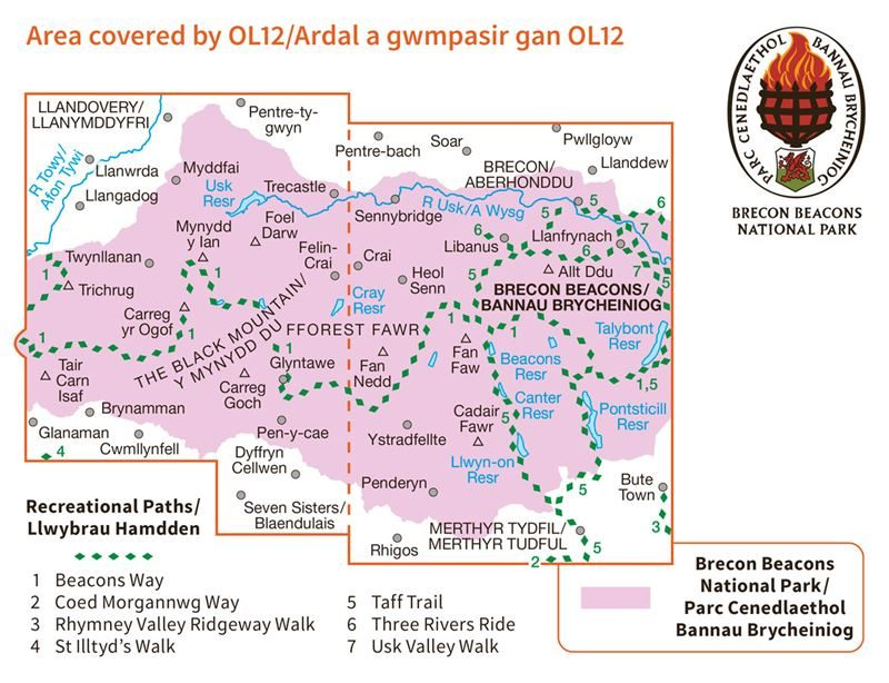 OS OL/Explorer 12 Paper - Brecon Beacons Western Area coverage