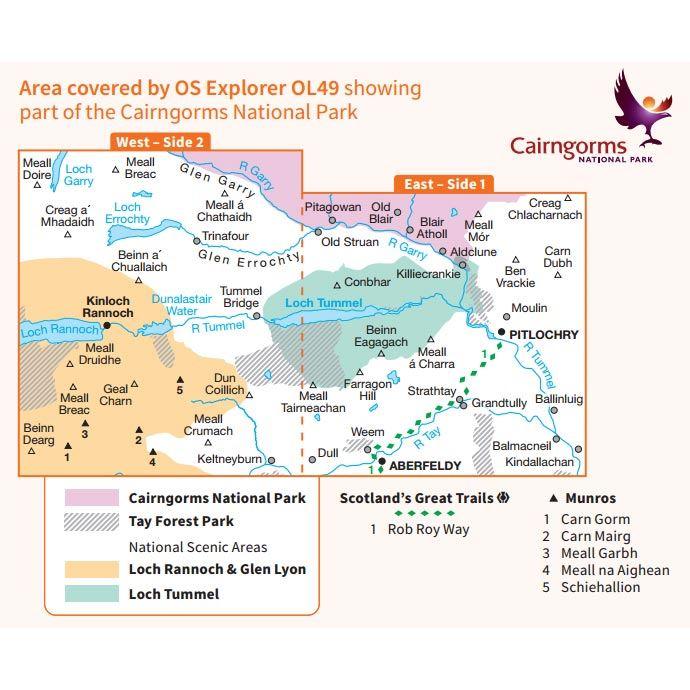 OS OL/Explorer 49 Paper - Pitlochry & Loch Tummel coverage