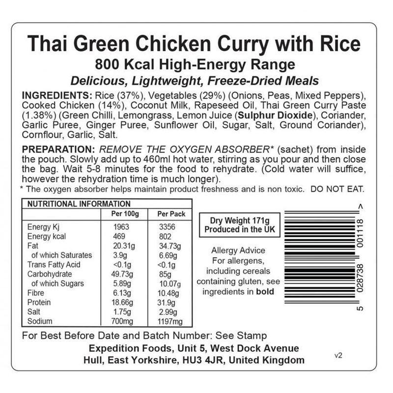 Thai Green Chicken Curry with Rice (Dairy Free, Gluten Free, 800kcal)