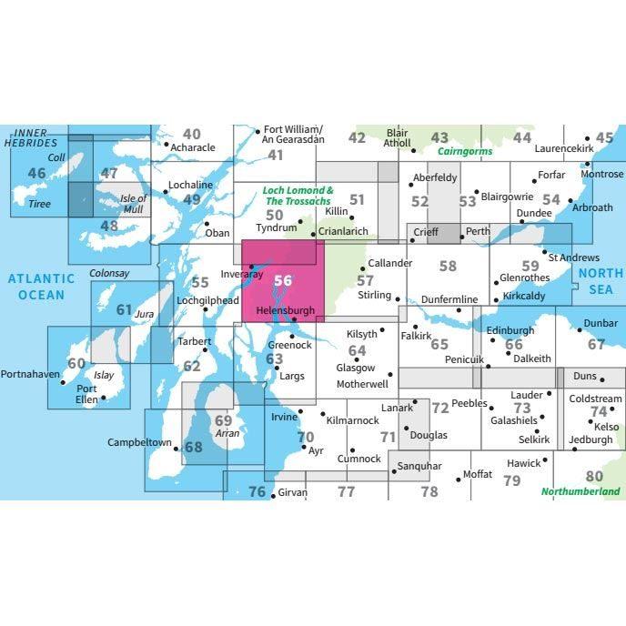 OS Landranger 56 Paper - Loch Lomond & Inveraray adjacent