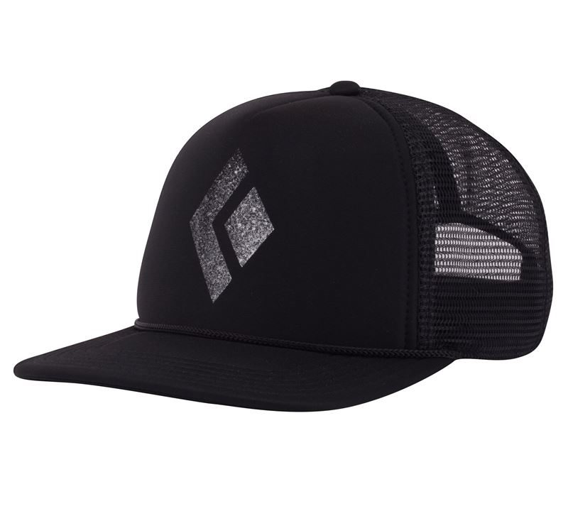 Black Diamond Flat Bill Trucker Hat Black with Chalk BD Logo