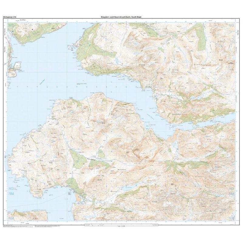 OS Explorer 413 Paper Knoydart, Loch Hourn & Loch Duich 1:25,000 south sheet