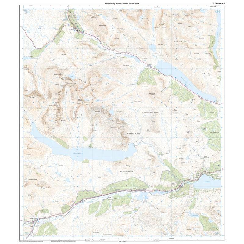 OS Explorer 436 Paper - Beinn Dearg & Loch Fannich 1:25,000 south sheet