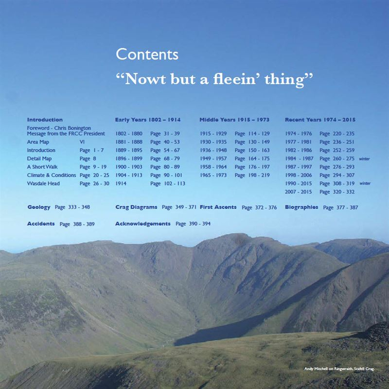 Nowt but a Fleein' Thing - A History of Climbing on Scafell contents