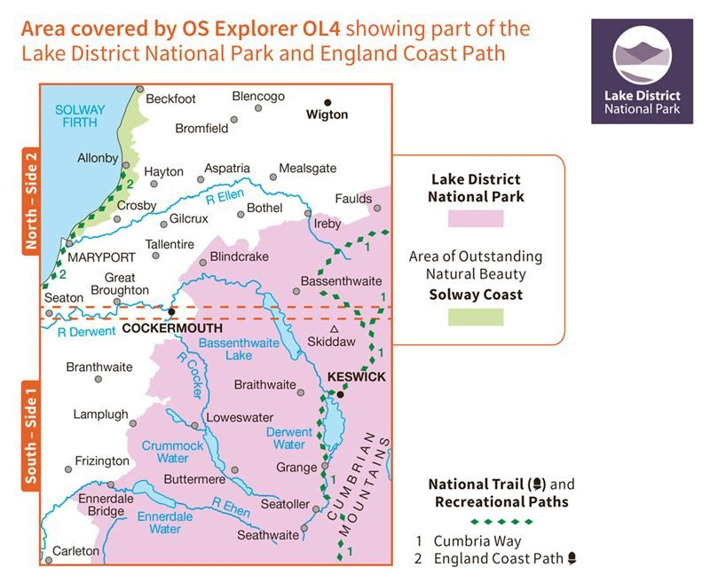 OS OL4 The English Lakes North-Western Area coverage