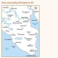 OS Explorer 311 Paper - Wigtown, Whithorn & The Machars coverage