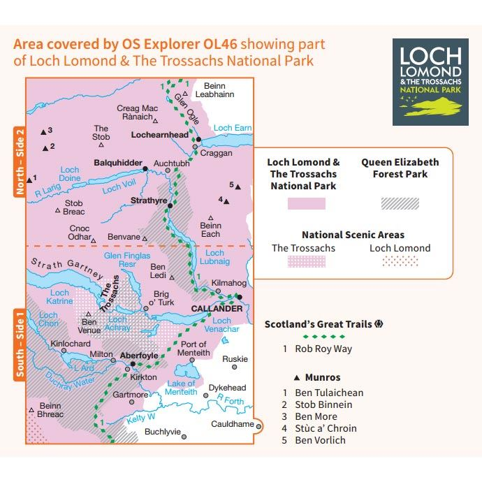 OS OL/Explorer 46 Paper - The Trossachs coverage