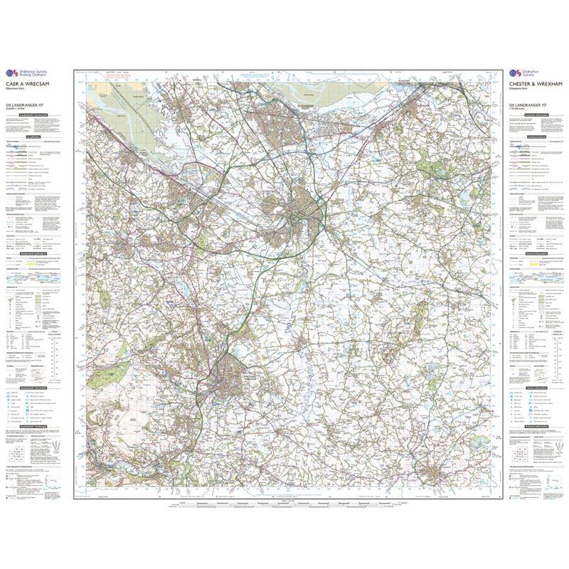 OS Landranger 117 Paper - Chester & Wrexham sheet