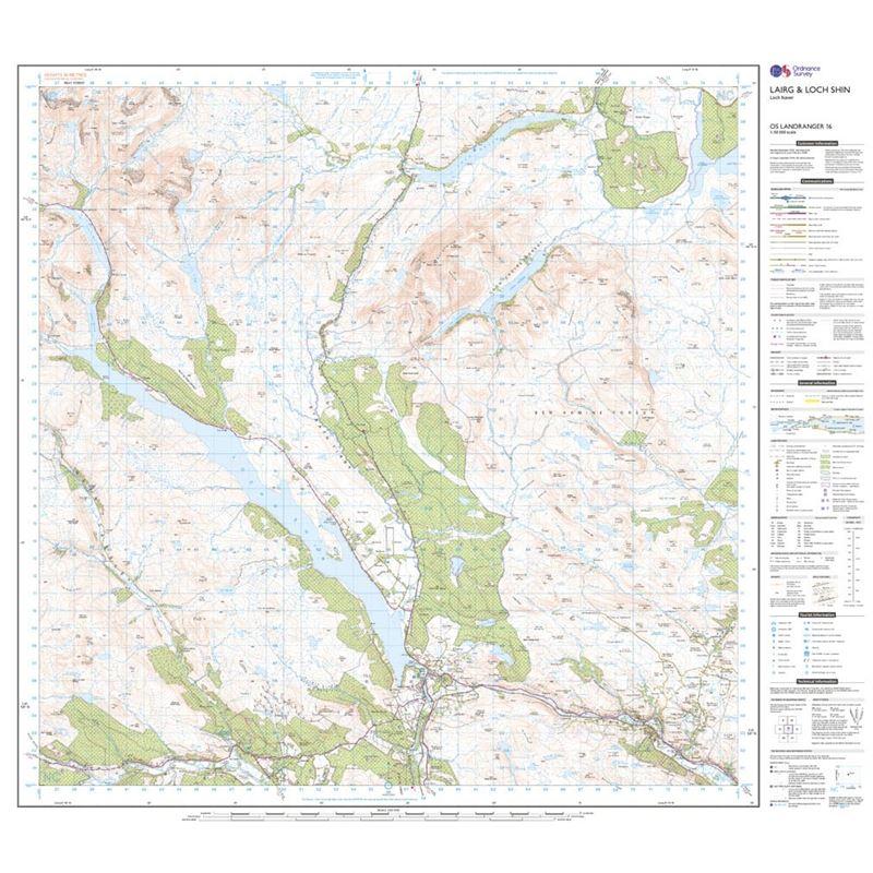 OS Landranger 16 Paper - Lairg & Loch Shin 1:50,000 sheet
