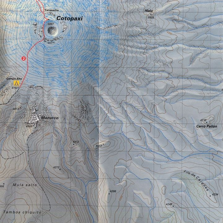 Climbing Map - Cotopaxi detail