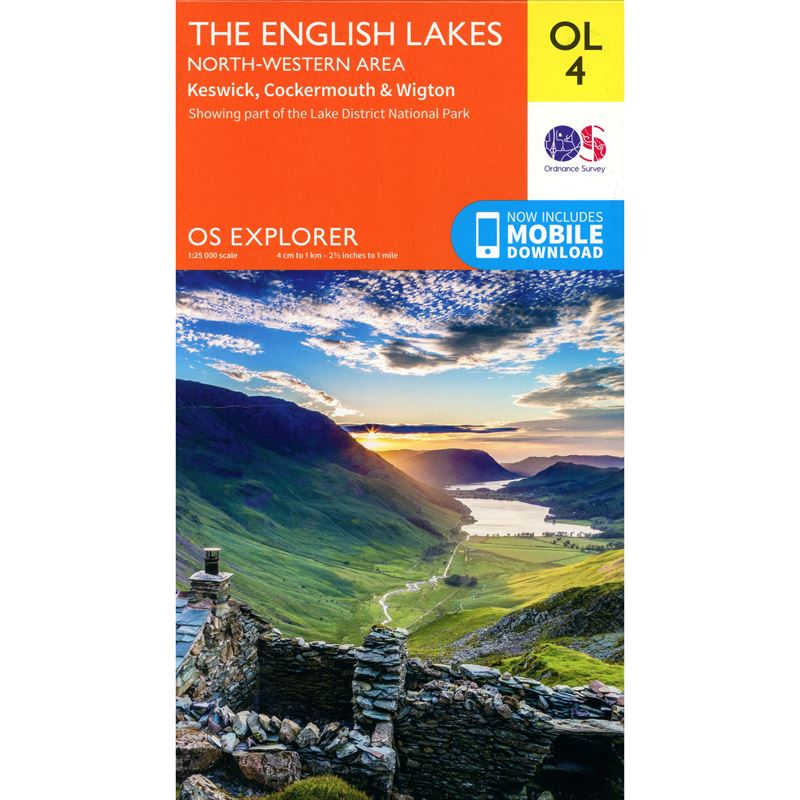 OS OL/Explorer 4 Paper - The English Lakes North-Western Area 1:25,000